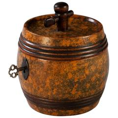 19th Century Fruitwood Barrel Tea Caddy