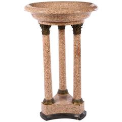 Fine and Massive Empire Style Bronze-Mounted Granite Floor Standing Font