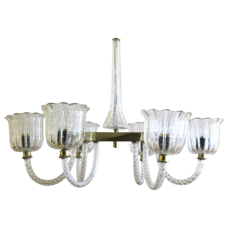 Good Murano 1950s Clear Glass Oblong-Form Six-Light Chandelier, Barovier & Toso