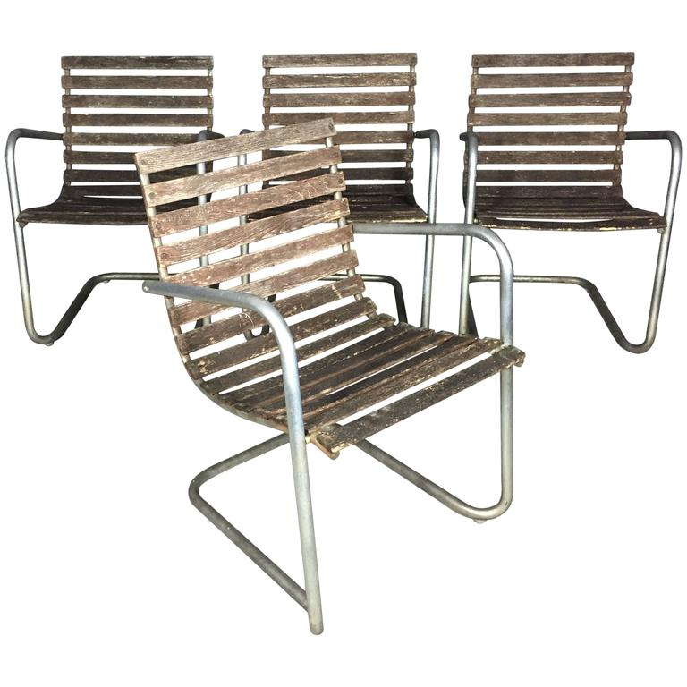 Wood Slat and Metal Garden Chairs by Fritz Hansen, Denmark, 1960s at ...