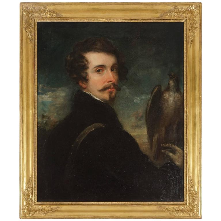 German Romantic School Portrait of a Gentleman Falconer, circa 1830 For Sale