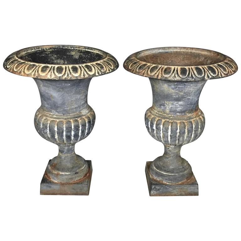 Pair Of Cast Iron Campana Garden Urns, Late 19th Century 1