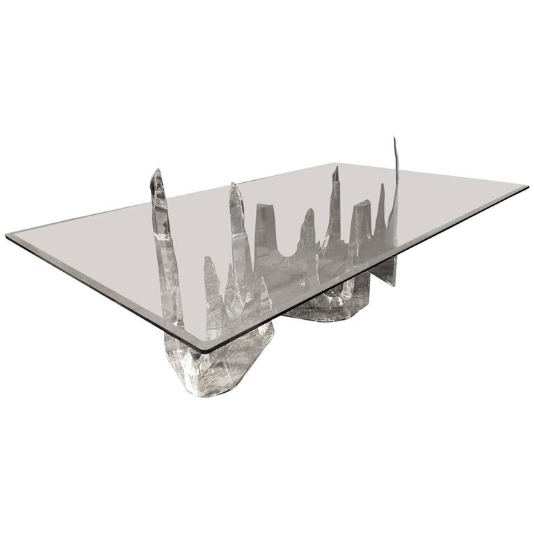 "Lion in Frost / Lucite, Acrylic ''Iceberg"" Dining / Conference Table, 1970s 1"