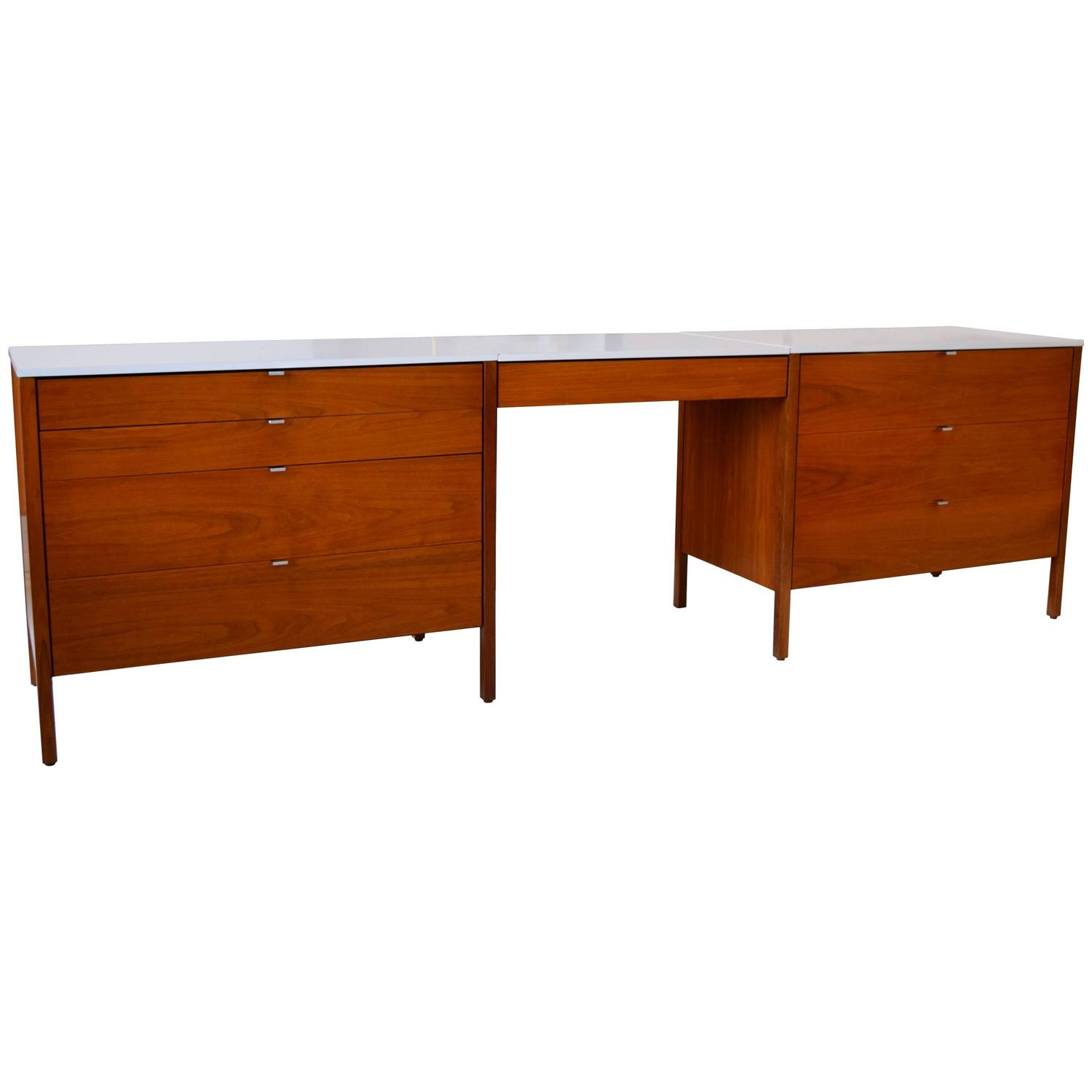 Florence knoll walnut dresser set with floating desk for Floating desk for sale