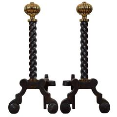 Pair of French Steel and Brass Andirons, Third Quarter of the 19th Century