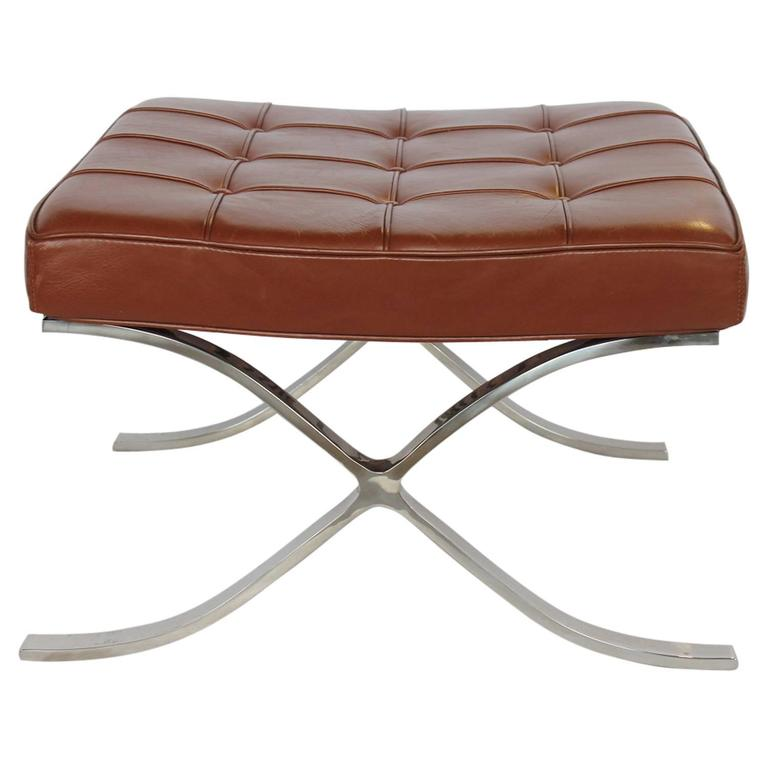 Mid-Century Chrome X-Base and Tufted Leather Bench