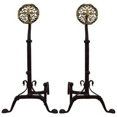 Pair of Italian Wrought Iron and Brass Andirons, Mid-19th Century