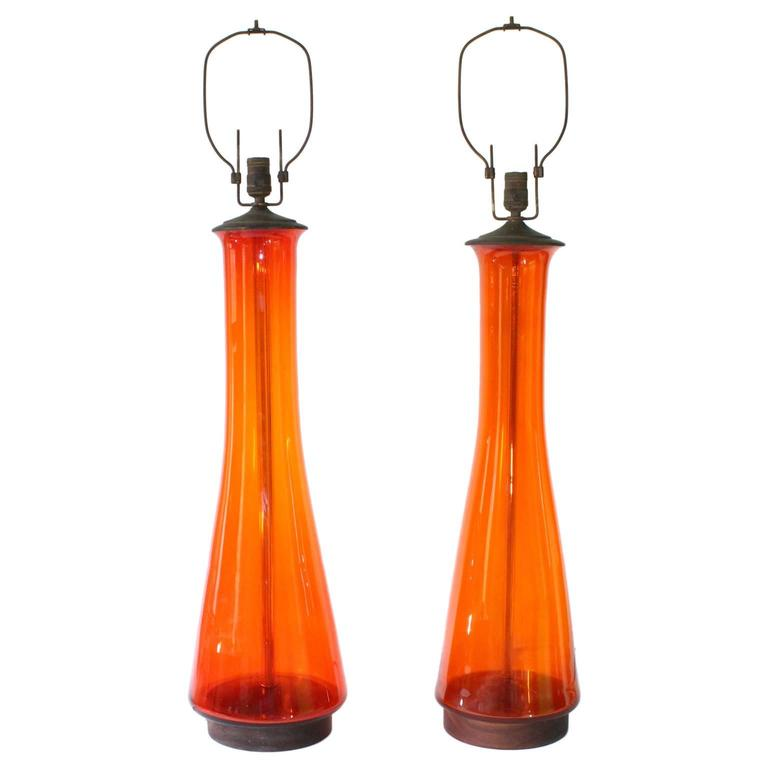 Pair of Blenko Tangerine Glass Table Lamps 1