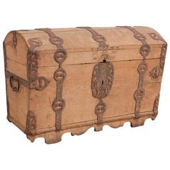 Antique North German Dome-Top Chest with Original Wrought Iron Straps circa 1750