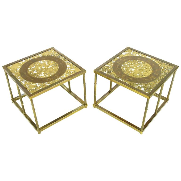 Pair of Mastercraft Patinated Brass and Églomisé Glass End Tables