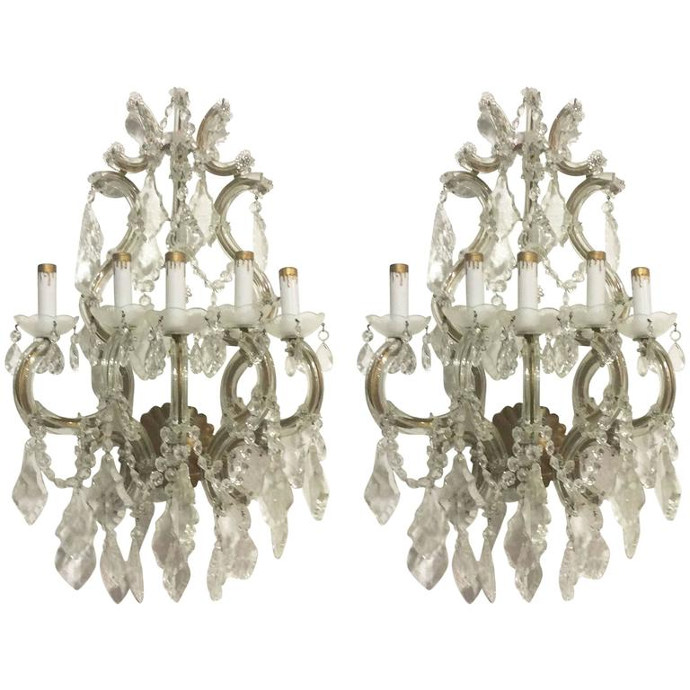 Crystal Wall Sconces Pair Of Venetian Gl Italian Gold Gilt Five Light Antique For