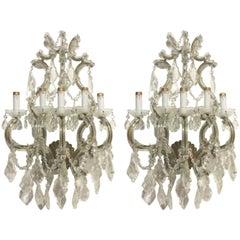 Crystal Wall Sconces Pair of Venetian Glass Italian Gold Gilt Five-Light Antique