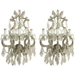 Crystal Wall Sconces Pair of Venetian Glass Italian Gold Gilt Five-Light Antique