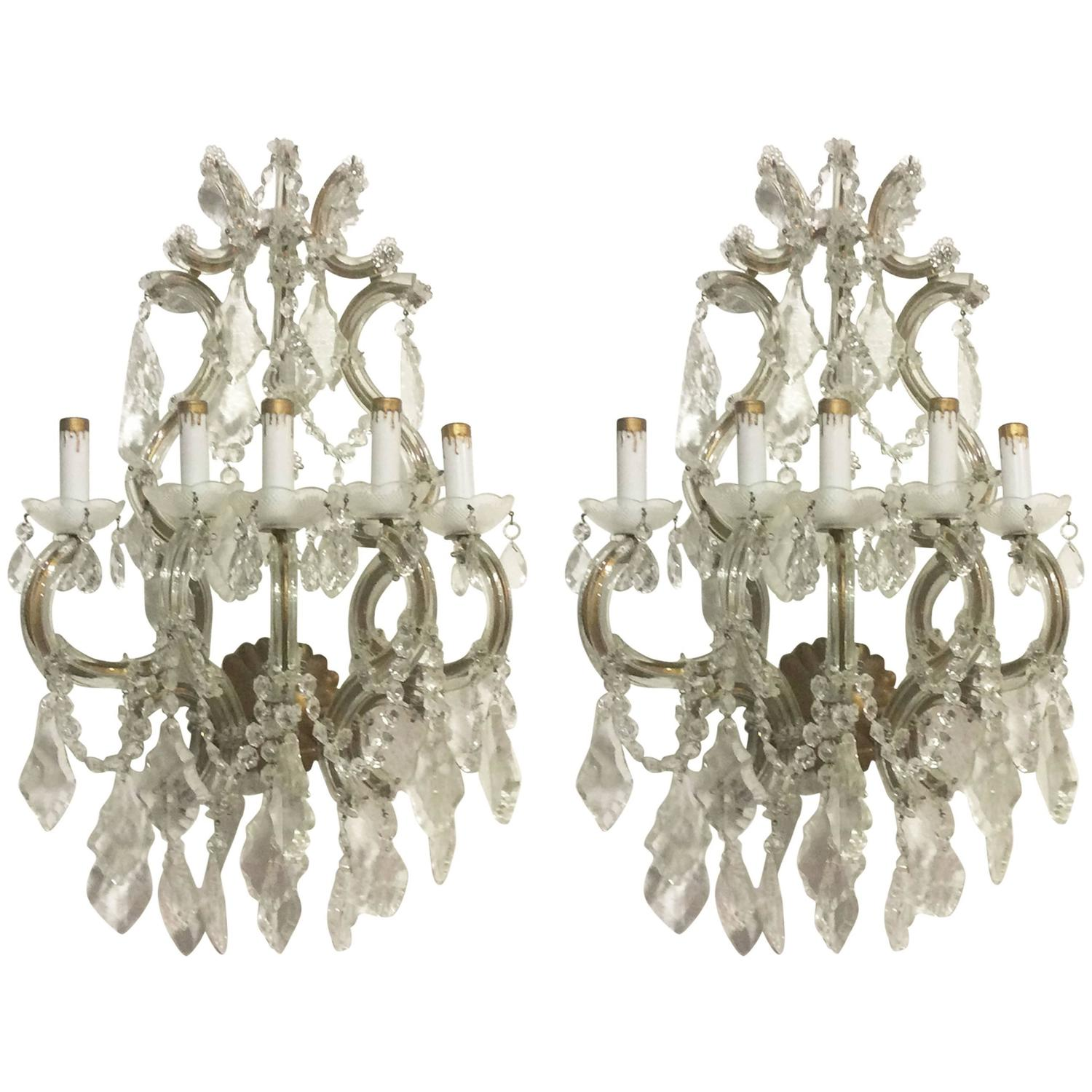 Crystal Wall Sconces Pair of Venetian Glass Italian Gold Gilt Five-Light Antique For Sale at 1stdibs
