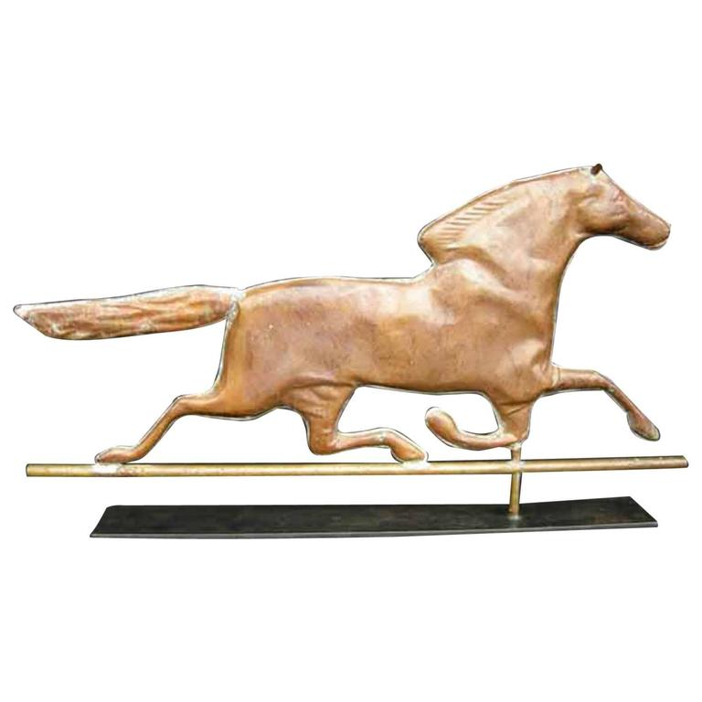 Vintage Weather Vane: Antique Running Horse Copper Weather Vane On Base For Sale