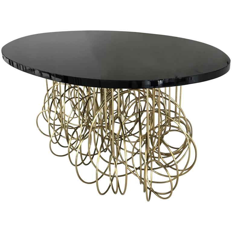 Brass and Black Lacquered Top French Table