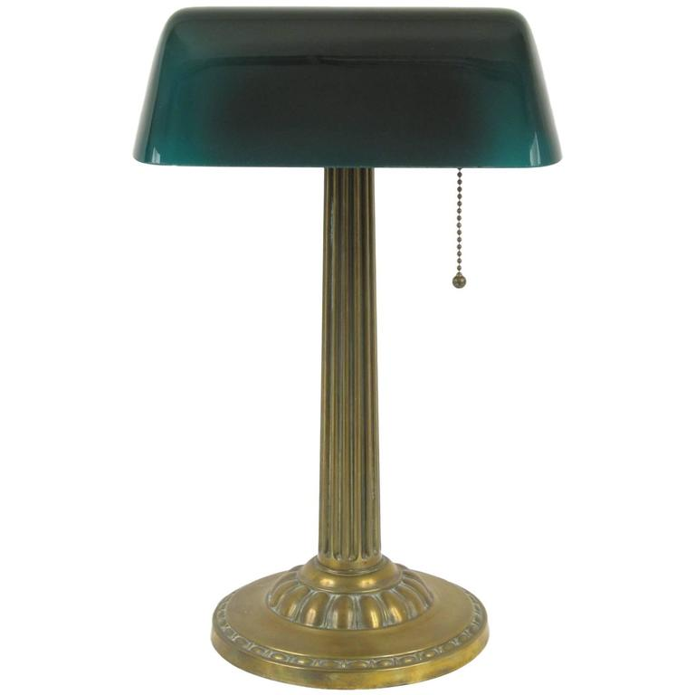 amronlite green glass shade bankers desk lamp at 1stdibs
