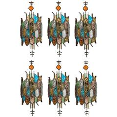 Six Stained Glass Sconces in the Style of Poliarte