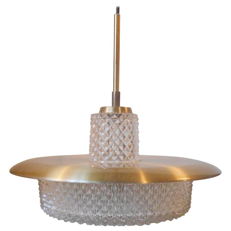 Carl Fagerlund Brass and Crystal Pendant Lamp Orrefors Sweden Mid-Century Modern
