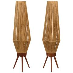 Pair of Scandinavian Teak and Jute Table Lamps in the Style of Fog & Morup