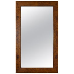 Midcentury Burl Walnut Wall Mirror