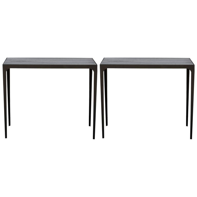 Pair of 'Esquisse' Ebonized Grooved Oak and Iron Side Tables by Design Frères