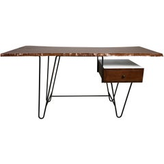 1950s Hairpin Desk with Floating Drawer and Custom Free Edge Walnut Top