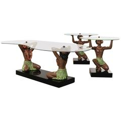 HAWAIIAN HULA Figural Coffee Table and Side Tables, Rare Three-Piece Set