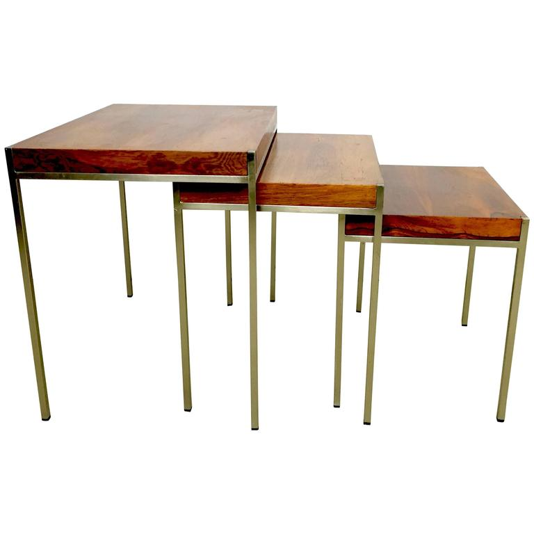 Elegant Italian Rosewood And Stainless Steel Nest Of Tables At 1stdibs