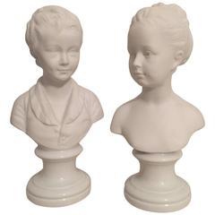 Pair of Limoges Parian Ware Busts