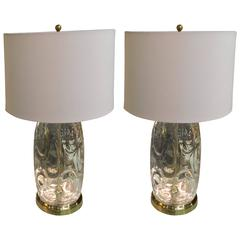 Pair of Mid-20th Century Handblown Clear Glass Table Lamps