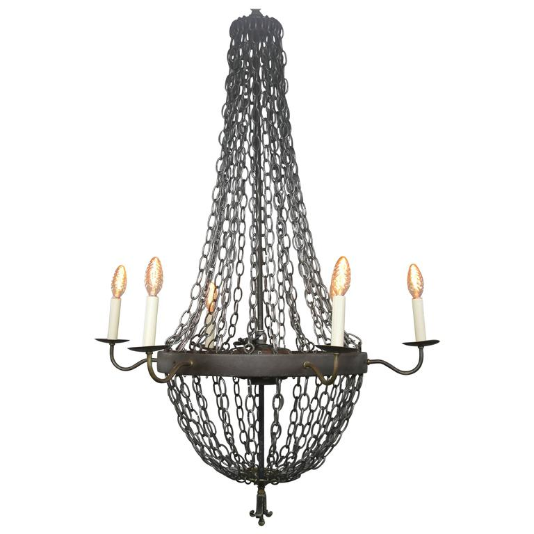 massive industrial chain link chandelier at 1stdibs