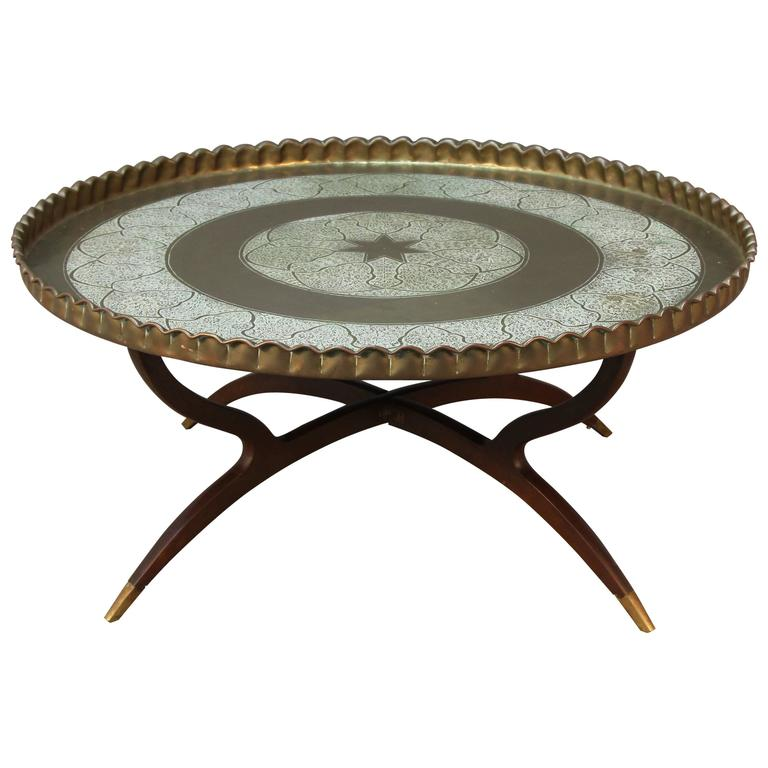 Large Round Vintage Brass Tray Coffee Table On Midcentury