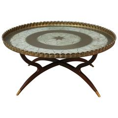 Large Round Vintage Brass Tray Coffee Table on Midcentury Folding Spider Base