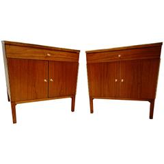 Magnificent Pair of Paul McCobb Nightstands with Leather Top
