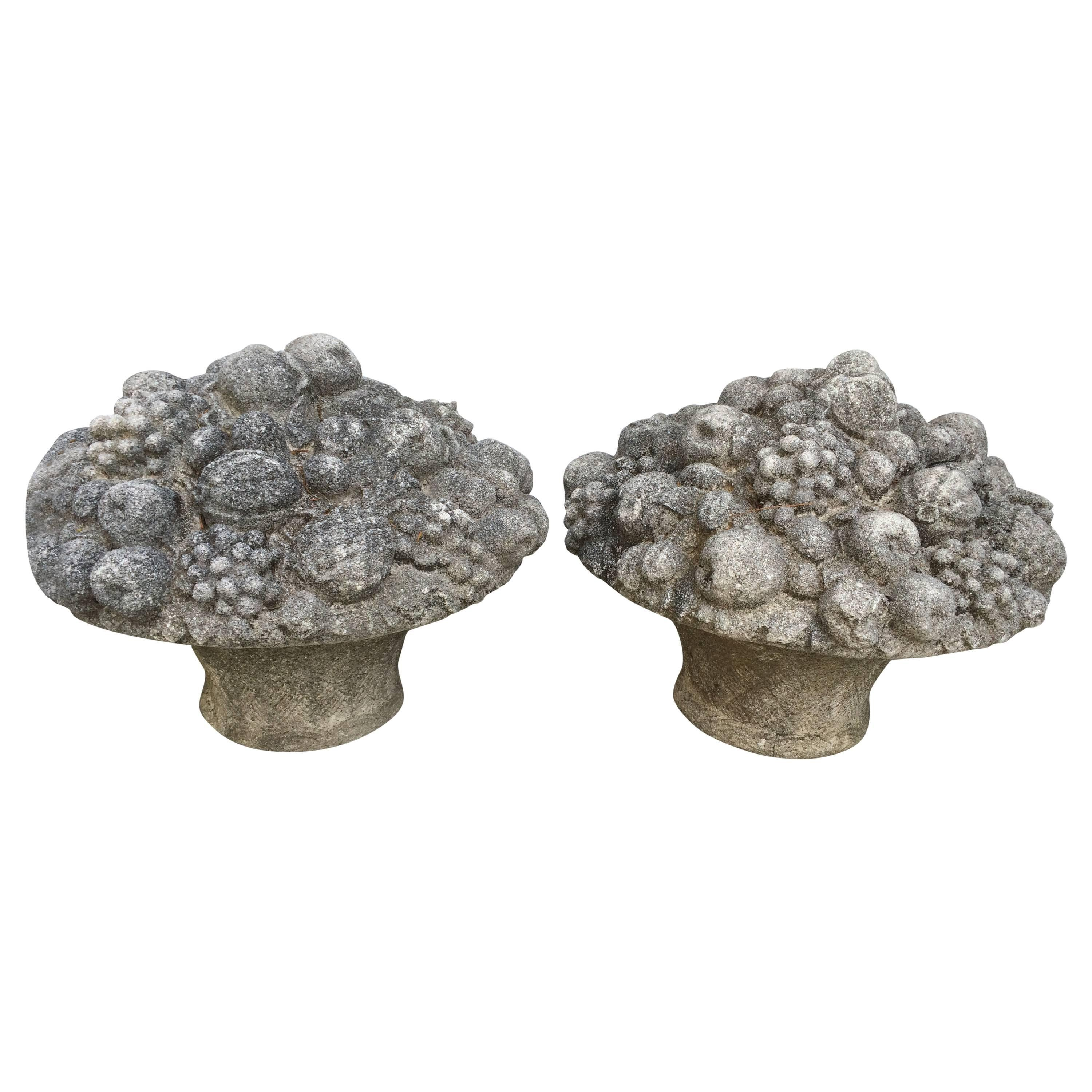 Monumental Pair of Antique Cast Stone Fruit and Flower Baskets