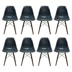 Set of Eight Herman Miller Eames Navy Blue Dining Chairs