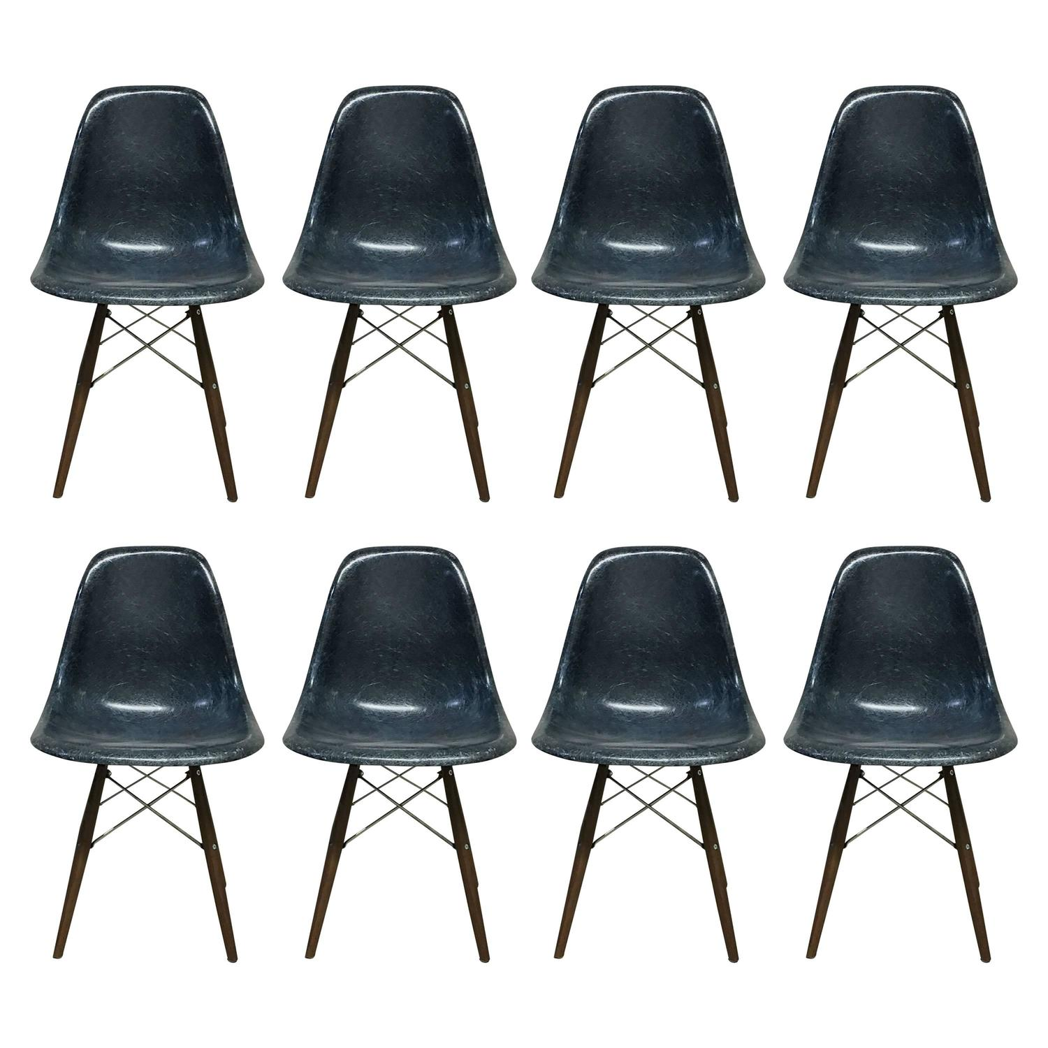set of eight herman miller eames navy blue dining chairs at 1stdibs