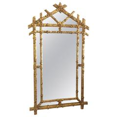 Faux Bois Vintage Gold Giltwood Wall Mirror, Hollywood Regency Flowers Floral