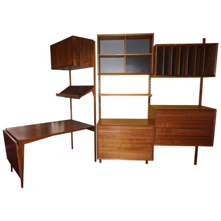 Gorgeous Three Bay Teak Cado Wall Unit Desk Danish Mid-Century