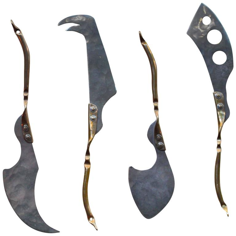 Bronze and Stainless Cheese Knives by Stefanie Dueck, Set of 4 1