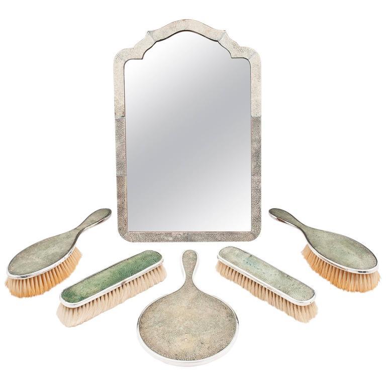 Art Deco Shagreen Brush and Mirror Dresser Set by Horton & Allday