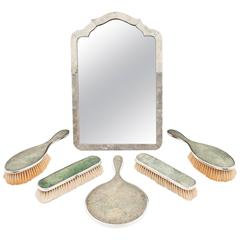 Art Deco Shagreen Brush and Mirror Dresser Set by Horton & Allday