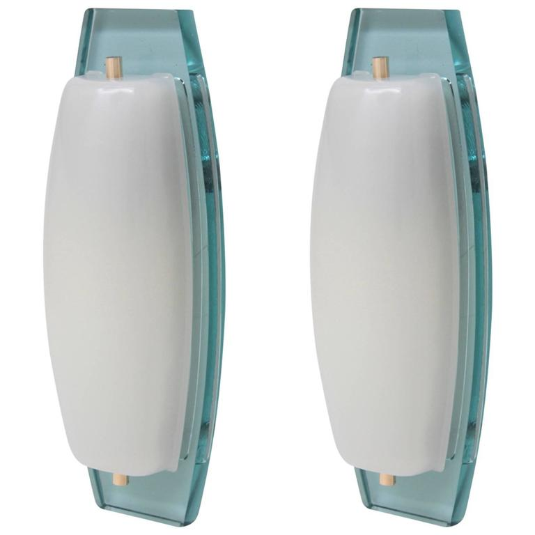 Pair of elegant murano wall lamps in the manner of fontana arte pair of elegant murano wall lamps in the manner of fontana arte for sale mozeypictures Images
