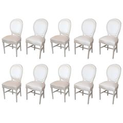Louis XVI Style Round Back Set of Ten Dining Chairs, circa 1900 from France