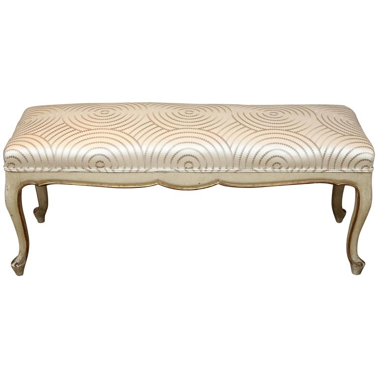 Late 19th Century Painted and Gilt Spanish Bench with Cabriolet Leg