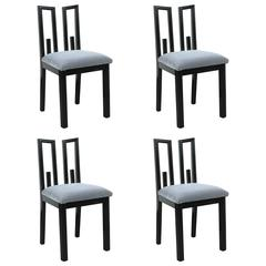 Set of Four Greek Key Dining Chairs by James Mont