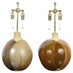 Pair of Studio Pottery Lamps