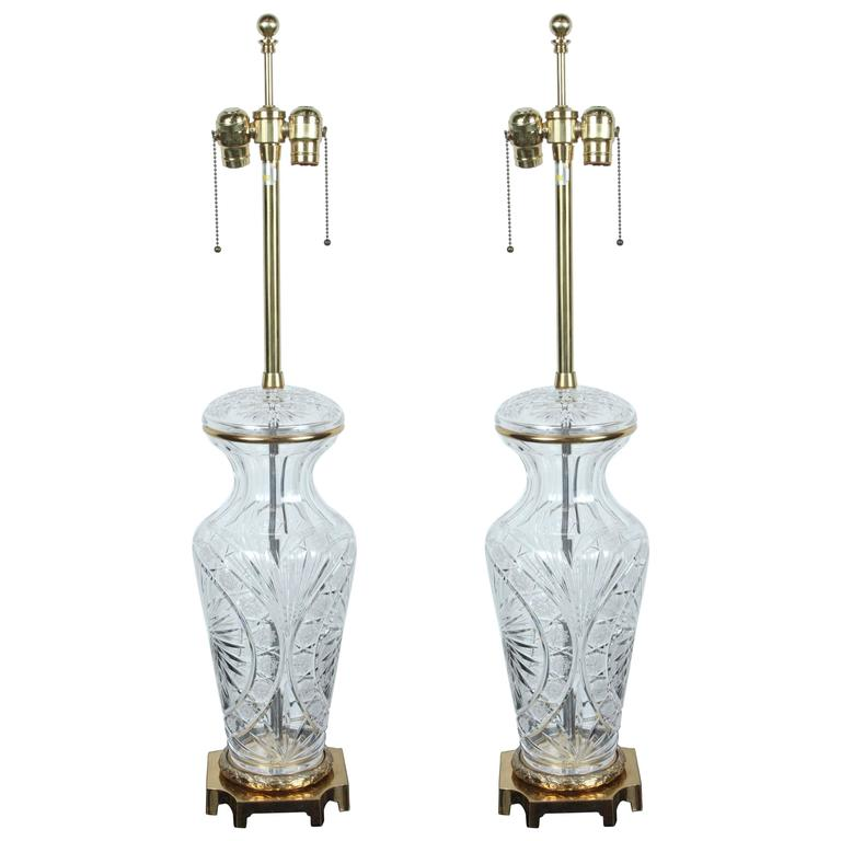 elegant pair of large crystal lamps by marbro for sale at. Black Bedroom Furniture Sets. Home Design Ideas