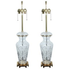 Elegant Pair of Large Crystal Lamps by Marbro